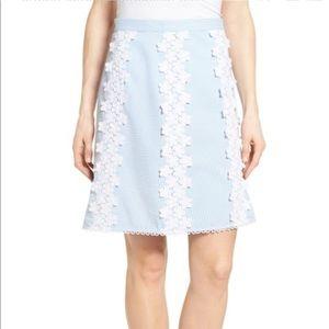 Draper James seersucker floral lace blue skirt